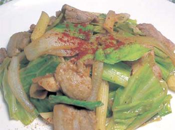 JAあわじ島の特産品レシピ「キャベツと豚バラ肉の炒め物」