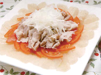 JAあわじ島の特産品レシピ「豚しゃぶしゃぶ野菜添え」
