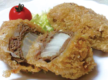JAあわじ島の特産品レシピ「たまねぎの牛肉巻きフライ」