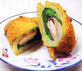 JAあわじ島の特産品レシピ「ハクサイのベーコン巻きフライ」