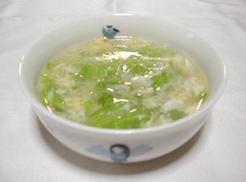 JAあわじ島の特産品レシピ「レタスとホタテのかきたま汁」