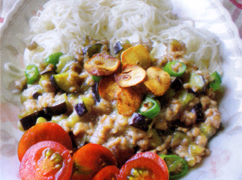 JAあわじ島の特産品レシピ「なすのスタミナジャジャ麺」