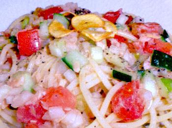 JAあわじ島の特産品レシピ「夏野菜とシーチキンの冷製パスタ」
