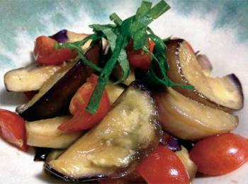 JAあわじ島の特産品レシピ「なすとトマトの甘酢サラダ」