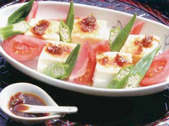 JAあわじ島の特産品レシピ「豆腐とトマトのサラダ」