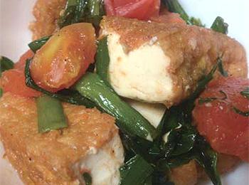 JAあわじ島の特産品レシピ「厚揚げのトマト炒め」