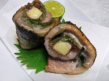 JAあわじ島の特産品レシピ「サンマの梅しそロール」