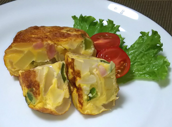 JAあわじ島の特産品レシピ「たまねぎたっぷりスパニッシュオムレツ」