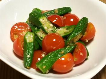 JAあわじ島の特産品レシピ「ミニトマトとオクラの温サラダ」
