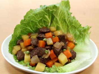 JAあわじ島の特産品レシピ「コロコロ彩りステーキ」