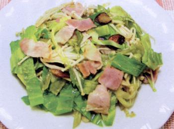 JAあわじ島の特産品レシピ「キャベツとレタス炒めペペロンチーノ風」