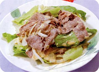 JAあわじ島の特産品レシピ「たまねぎと牛しゃぶのサラダ」