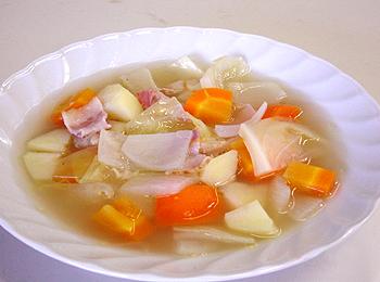 JAあわじ島の特産品レシピ「野菜の煮込みスープ アサリ風味」