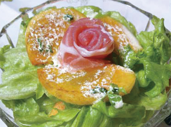 JAあわじ島の特産品レシピ「レタスと柿のフレンチサラダ」