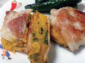 JAあわじ島の特産品レシピ「豚肉のカボチャ挟み焼き」