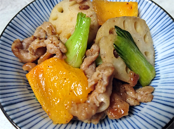 JAあわじ島の特産品レシピ「柿と豚肉の炒めもの」