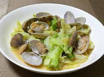 JAあわじ島の特産品レシピ「キャベツとあさりのしょうが蒸し」